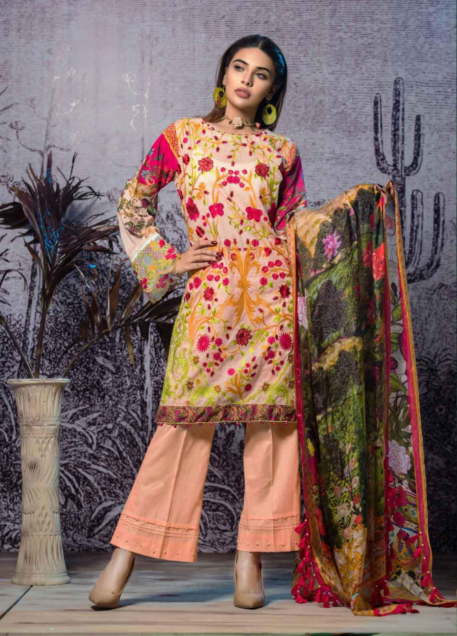 Tatheer Embroidered Lawn Unstitched 3 Piece Suit THT19L 06 - Spring / Summer Collection