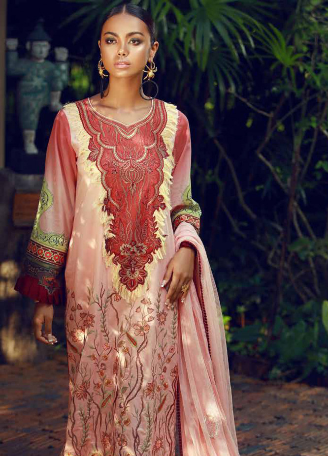 Tena Durrani Embroidered Lawn Unstitched 3 Piece Suit TD18F 10 - Eid ul Azha Collection