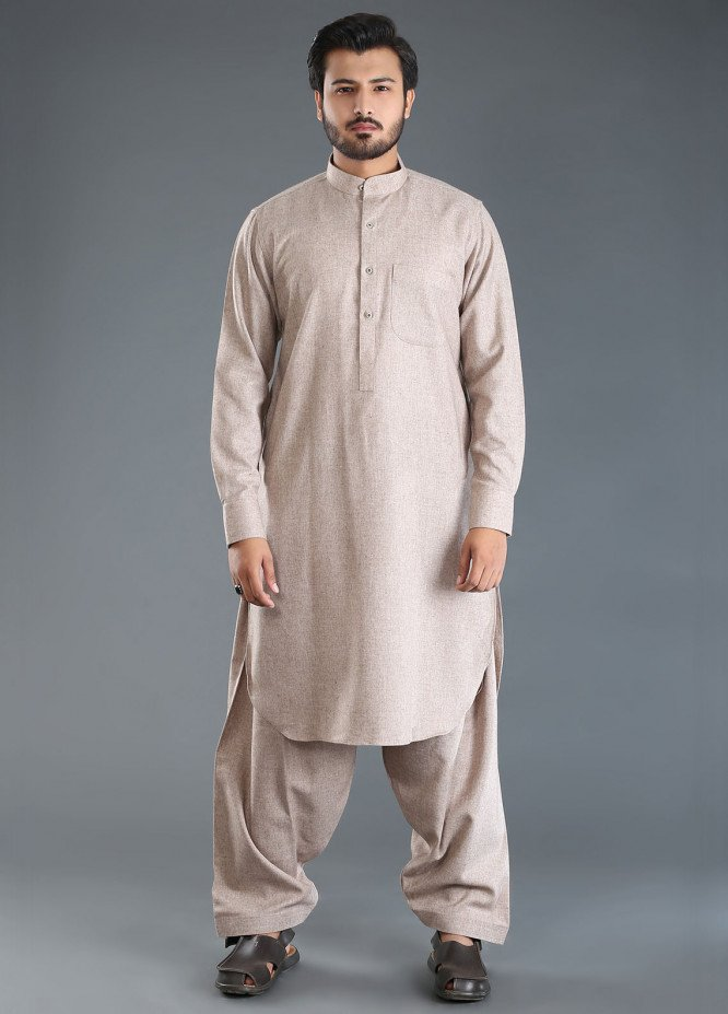 Sanaulla Exclusive Range Wash N Wear Woolen Men Kameez Shalwar - Brown SKS18W 08