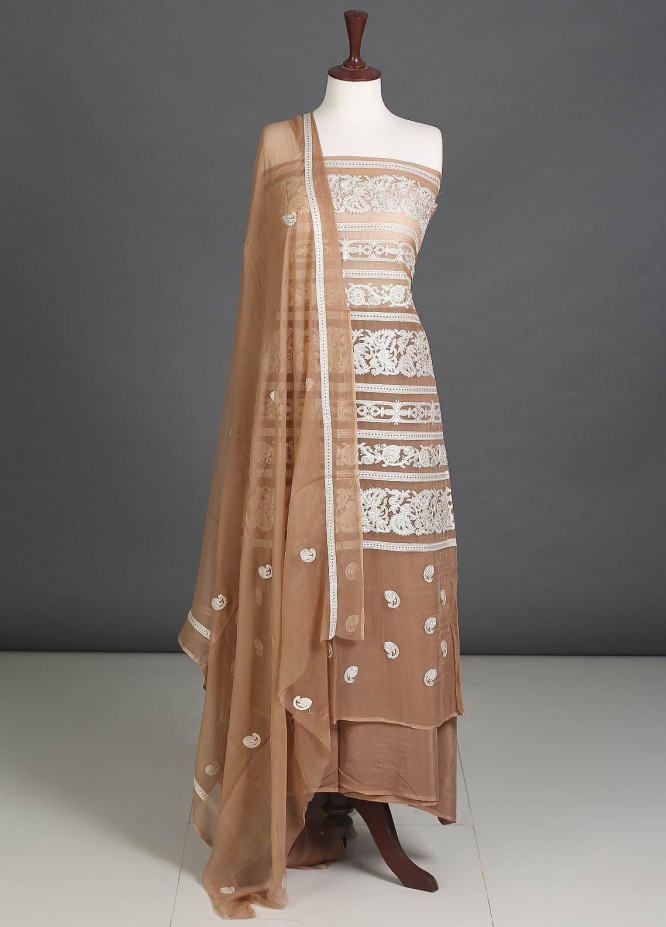 Sanaulla Exclusive Range Embroidered Chiffon Unstitched 3 Piece Suit SER19C 09 Brown - Luxury Collection