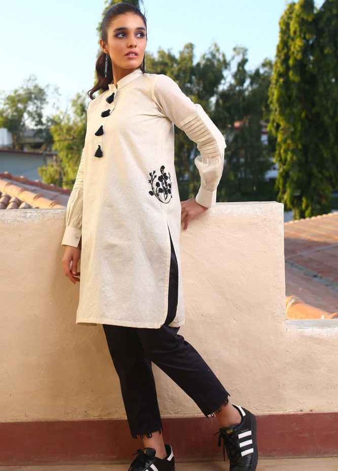 Zaaviay Embroidered Karandi Stitched Kurtis Z20WP ZDC-009 FROSTED FOREST