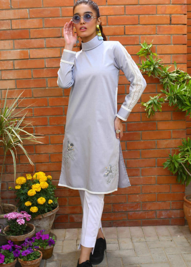 Zaaviay Embroidered Denim Stitched Kurtis Z20WP ZDC-010 MORNING GLORY