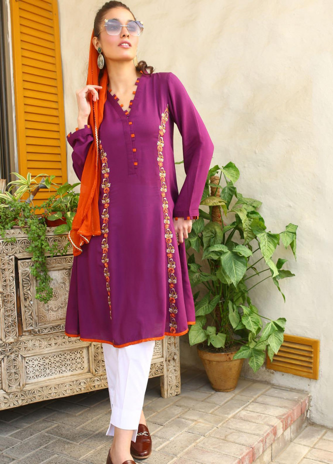 Zaaviay Embroidered Linen Stitched Kurtis Z20WP ZDC-012 MAPLE LEAF
