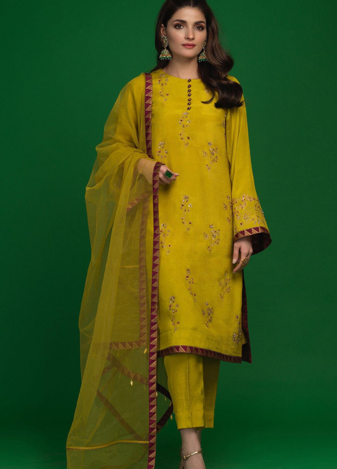 Zaaviay Embroidered Raw Silk Stitched 3 Piece Suit Z21AZ 02 DHANAK