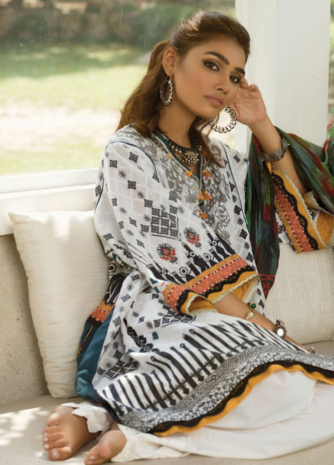 Zaha by Khadijah Shah Embroidered Cotton Unstitched 3 Piece Suit ZKS19F 13 AXARA - Festive Collection
