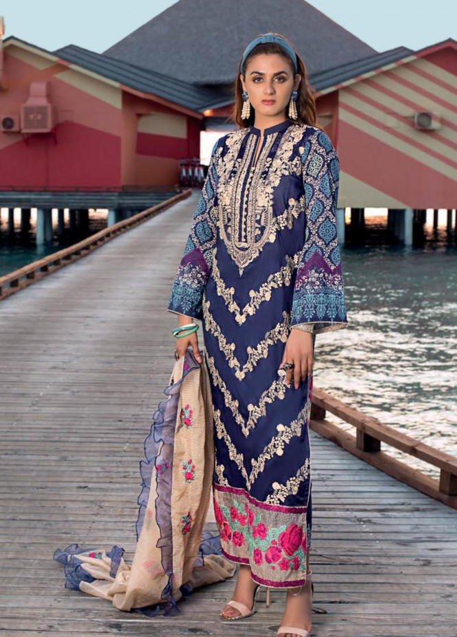 Zainab Chottani Embroidered Lawn Unstitched 3 Piece Suit ZC20LL 2A - Luxury Collection