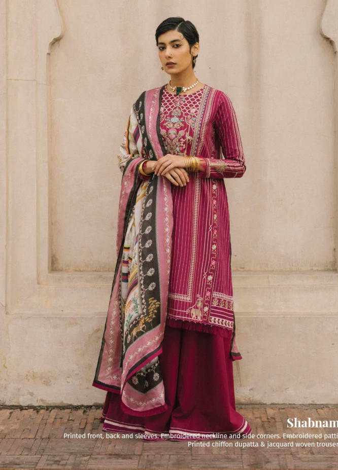 Zara Shahjahan Embroidered Lawn Unstitched 3 Piece Suit ZSJ20GL ZEENAT-B - Spring / Summer Collection