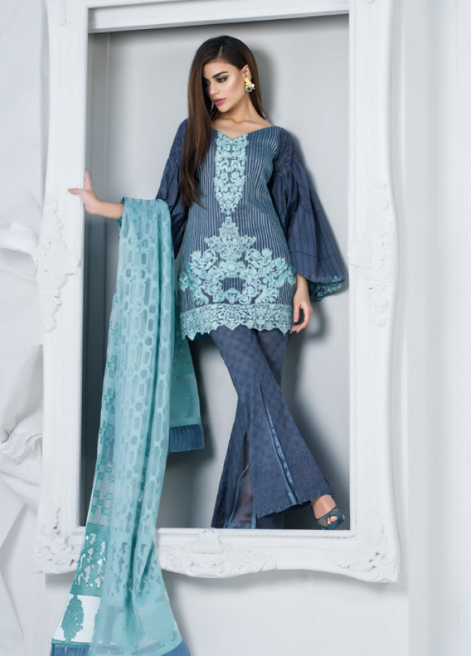 Zainab Chottani Embroidered Lawn Unstitched 3 Piece Suit ZC18L 7B - Spring / Summer Collection