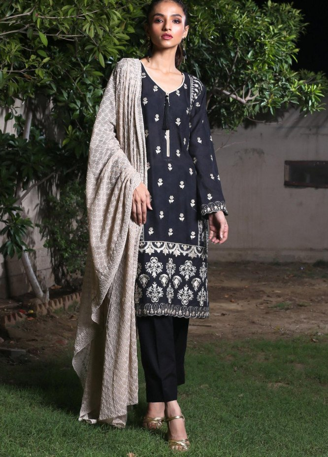 ZS Textile Embroidered Schiffli Unstitched 3 Piece Suit ZS20BW 7 - Spring / Summer Collection