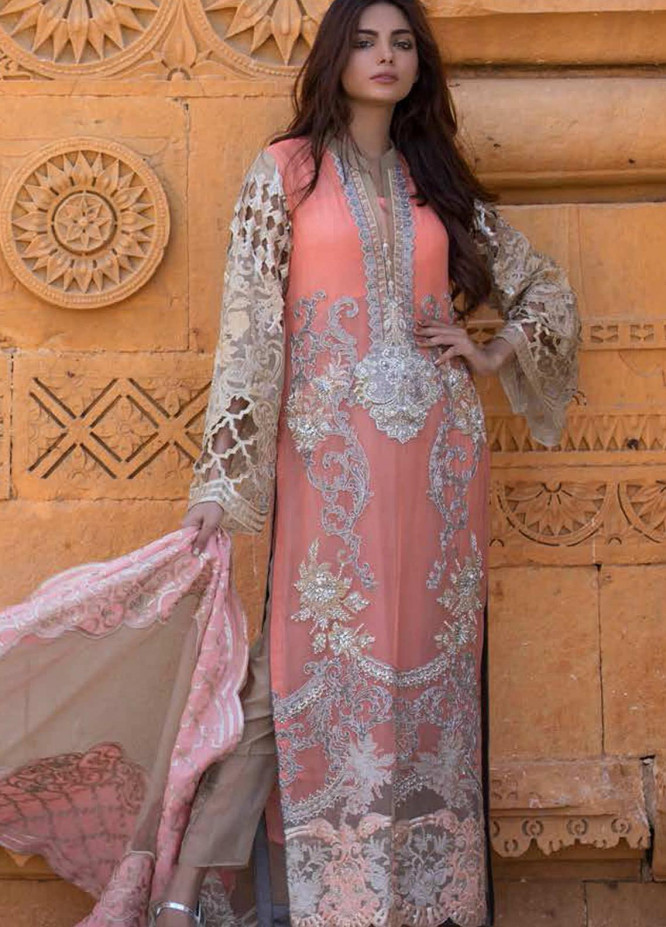 ZUNUJ Embroidered Chiffon Unstitched 3 Piece Suit ZJ20LC D-01 - Luxury Collection