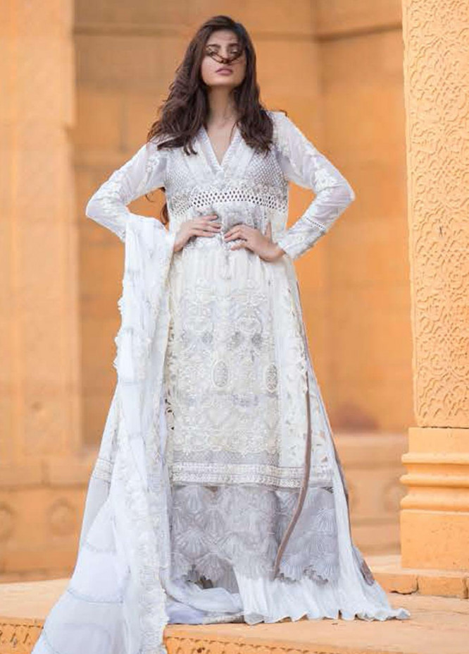 ZUNUJ Embroidered Chiffon Unstitched 3 Piece Suit ZJ20LC D-03 - Luxury Collection