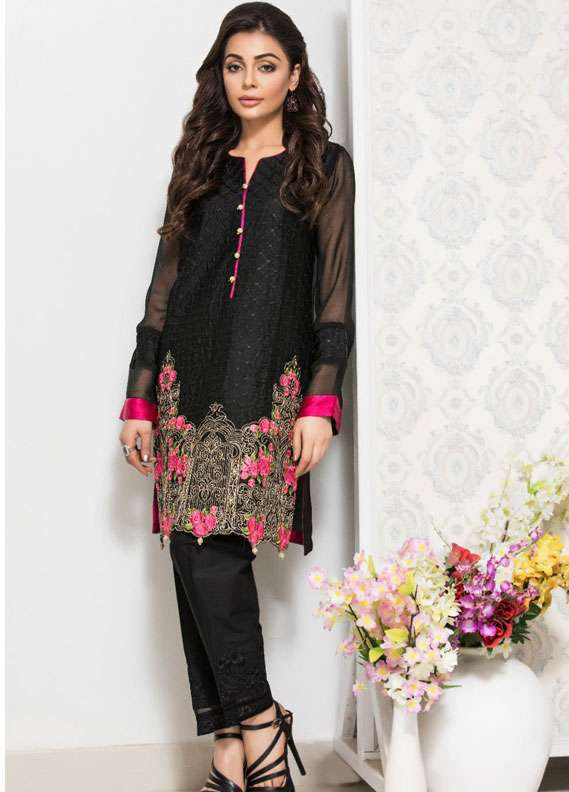 Panache Embroidered Charmeuse Unstitched Kurties PN18V 02 - Spring Collection