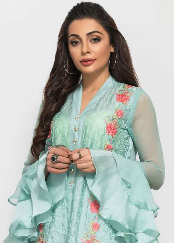 Panache Embroidered Charmeuse Unstitched Kurties PN18V 05 - Spring Collection