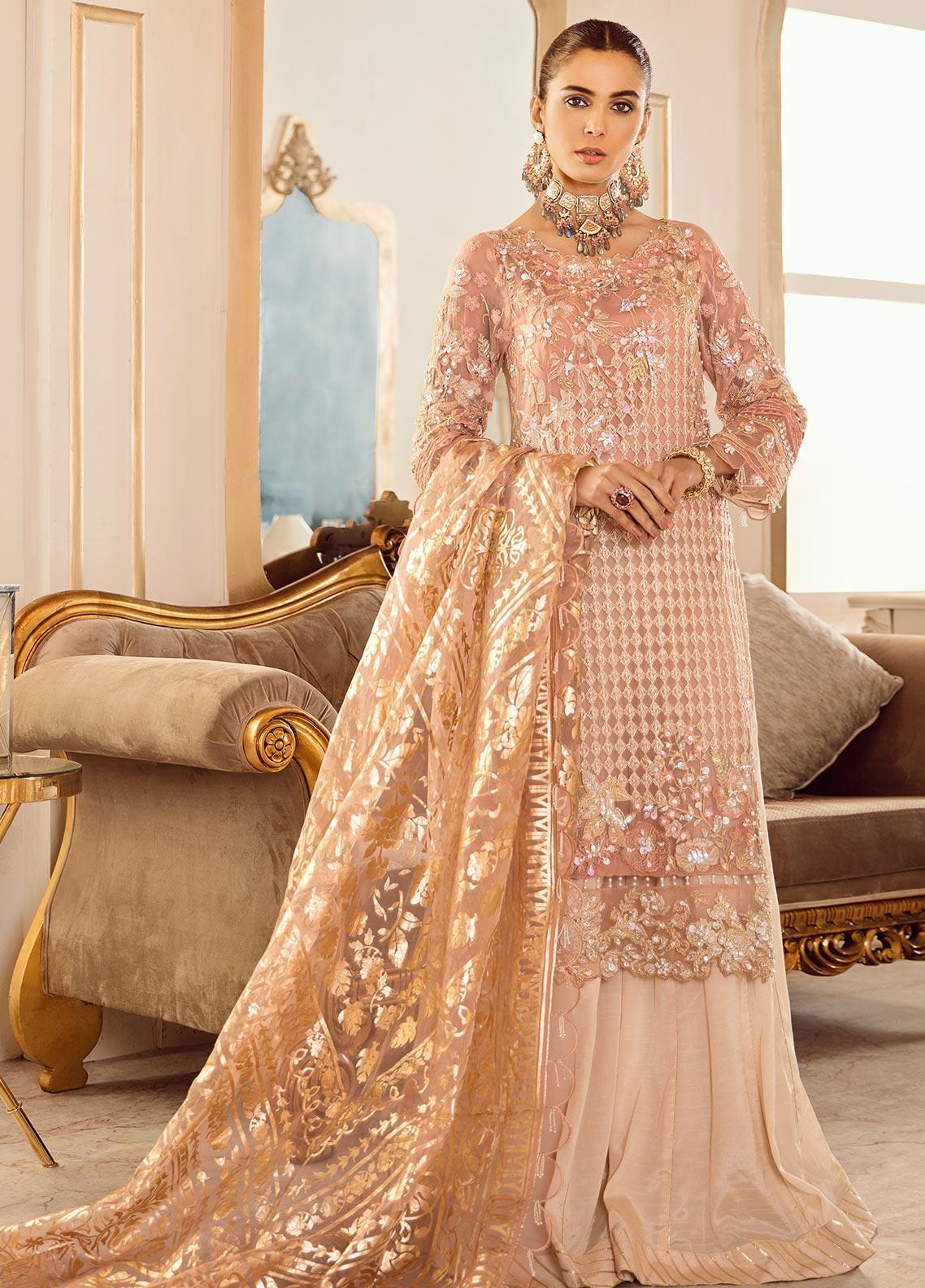 Rouche Embroidered Chiffon Unstitched 3 Piece Suit RCH20DX 3 - Luxury Collection