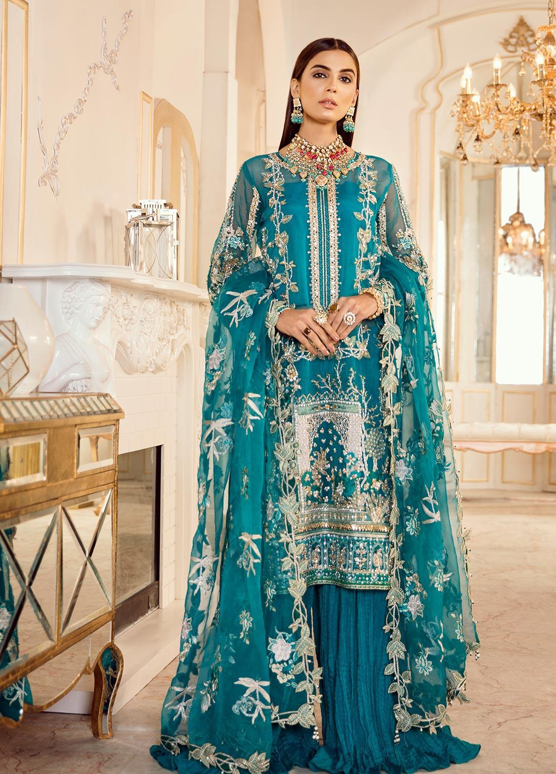 Rouche Embroidered Organza Unstitched 3 Piece Suit RCH20DX 4 - Luxury Collection