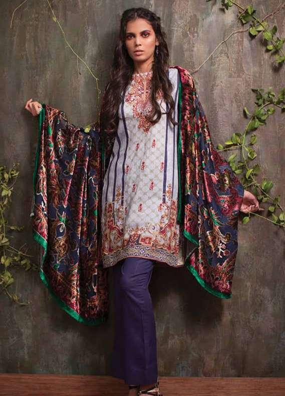 Deeba Embroidered Velvet Unstitched 3 Piece Suit DB17V 13A