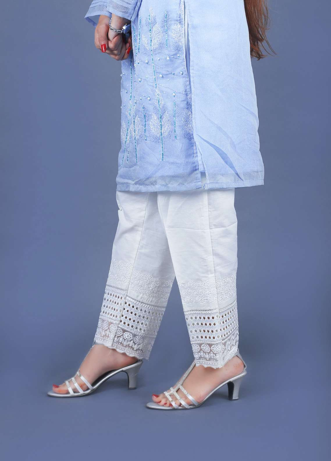 Deck up Embroidered  Stitched Trouser DC18T 178 CREAM
