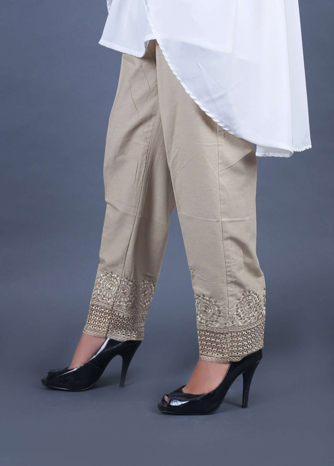 Deck up Embroidered  Stitched Trouser DC18T 178 SKIN