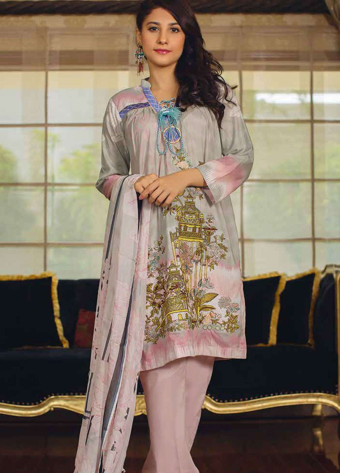 Deeba Embroidered Lawn Unstitched 3 Piece Suit DB19L 03A - Spring / Summer Collection
