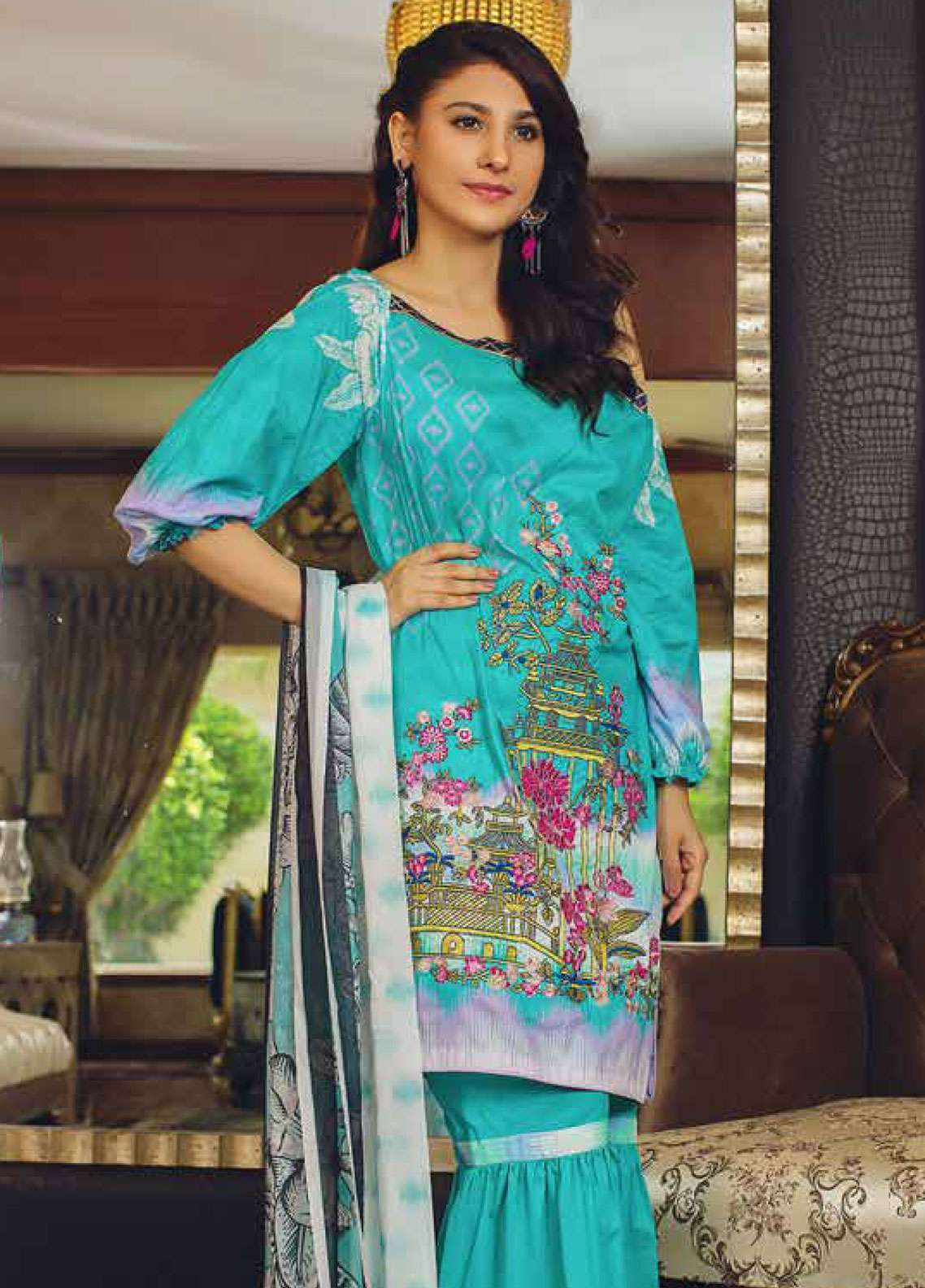 Deeba Embroidered Lawn Unstitched 3 Piece Suit DB19L 03B - Spring / Summer Collection
