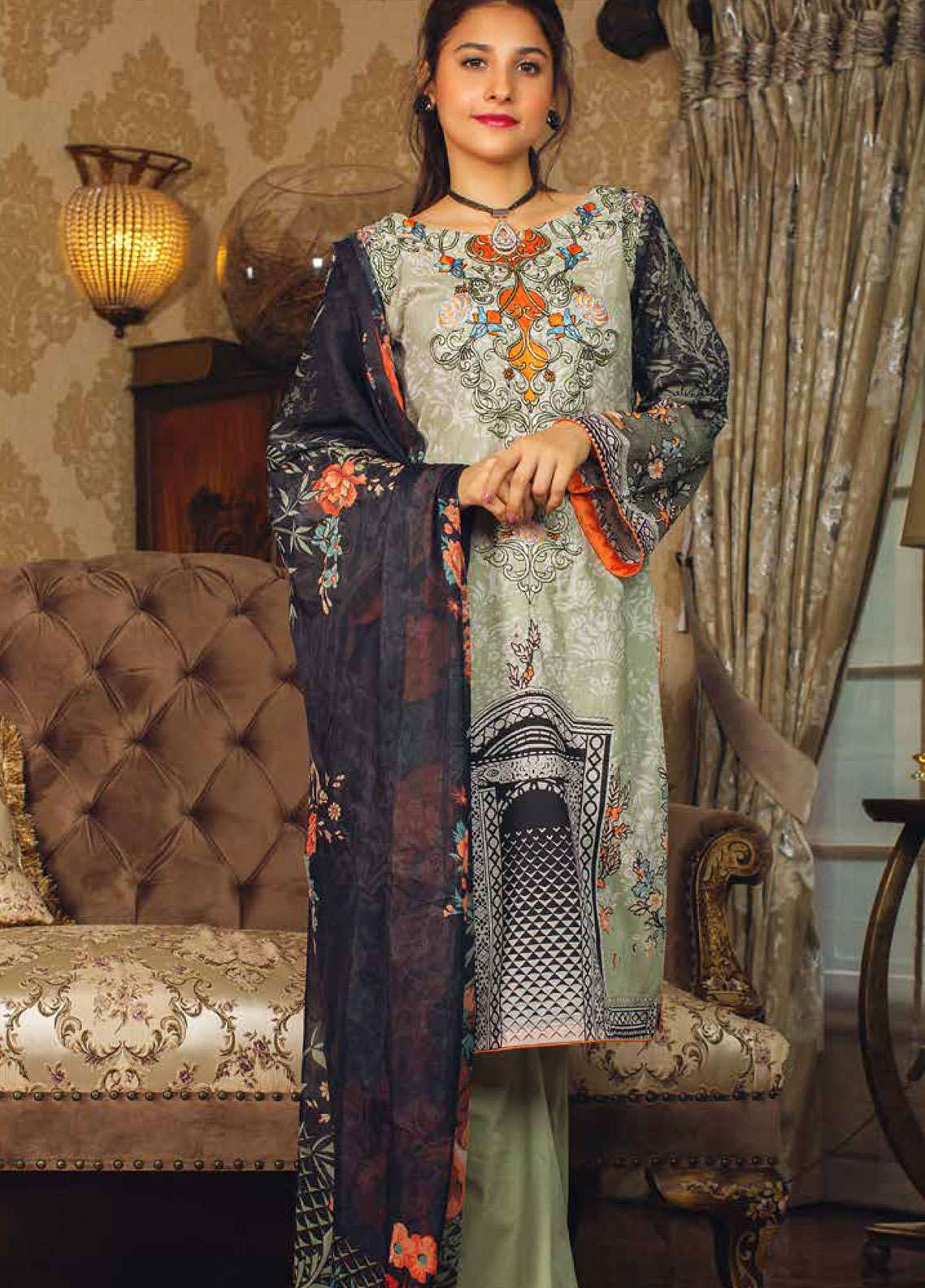 Deeba Embroidered Lawn Unstitched 3 Piece Suit DB19L 04 - Spring / Summer Collection