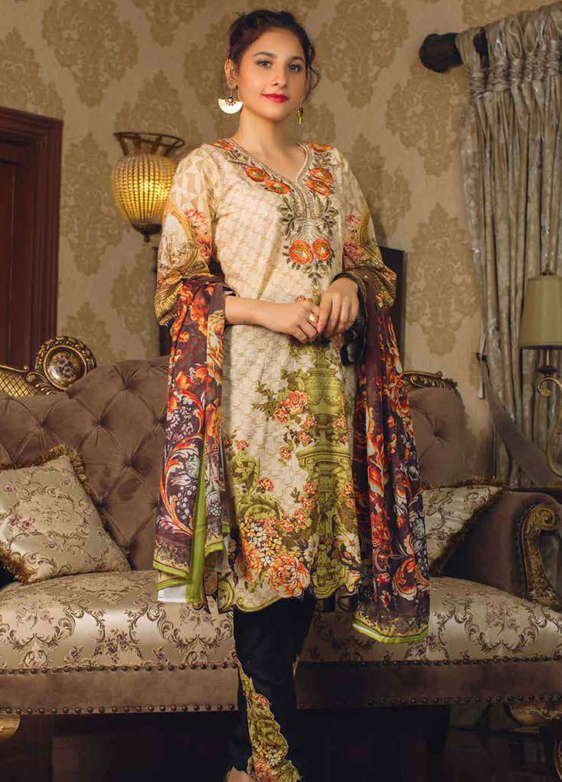 Deeba Embroidered Lawn Unstitched 3 Piece Suit DB19L 06 - Spring / Summer Collection