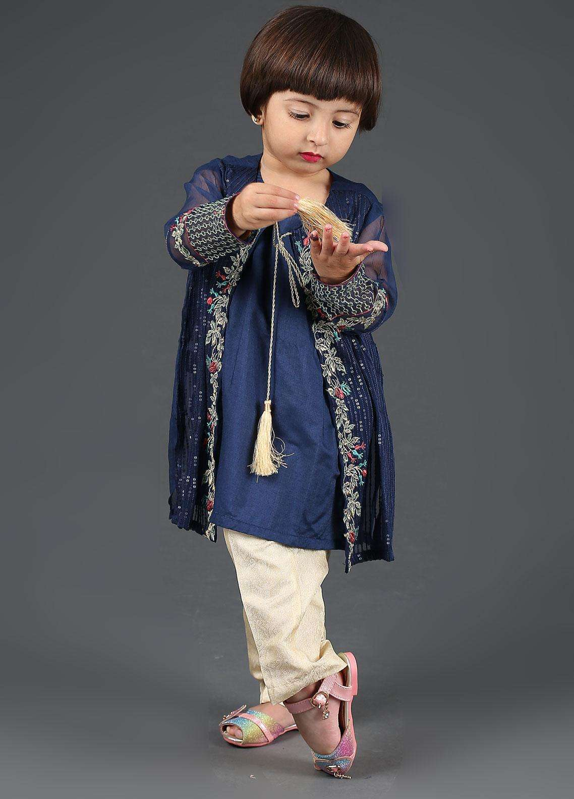 9a98f3af77 Dhanak Chiffon Embroidered 2 Piece Suits for Girls - DK-0042 Blue