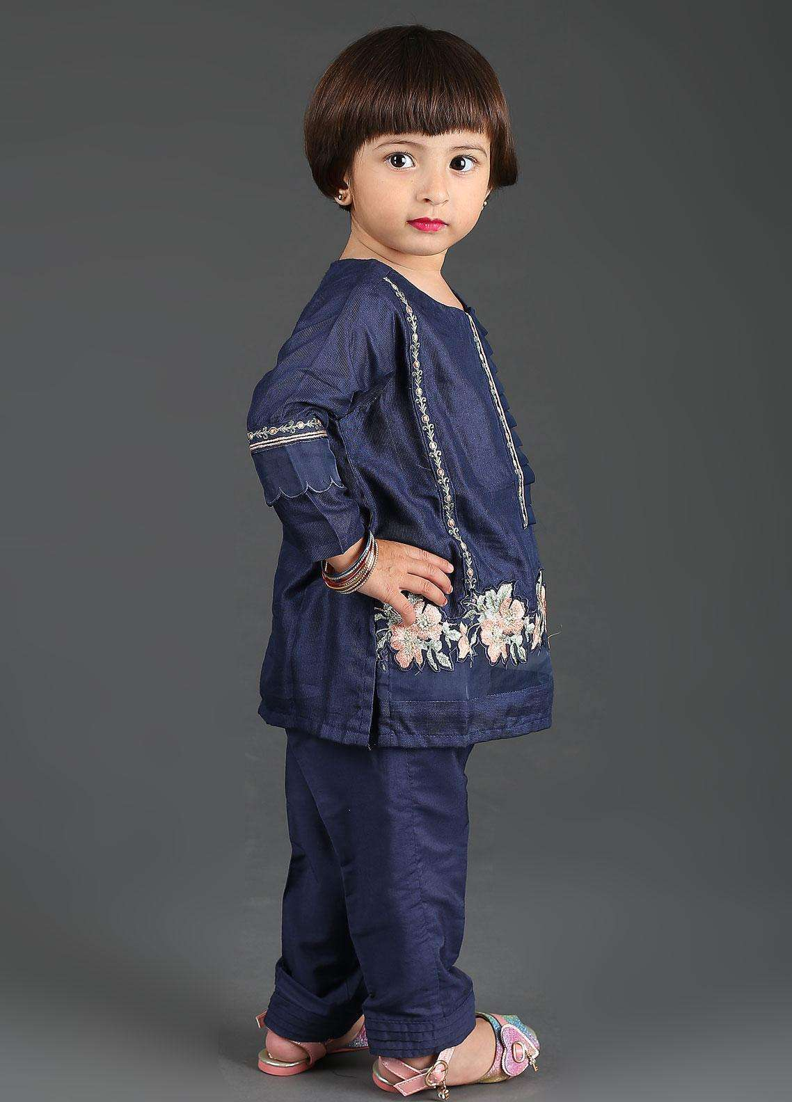 023d823a1e ... Dhanak Cotton Net Embroidered Girls 2 Piece Suits - DK-0052 Navy Blue.  < Previous · hover
