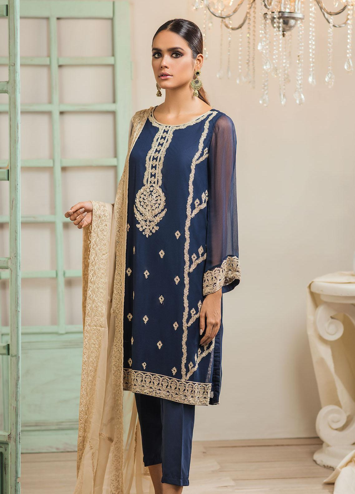 Dhanak Embroidered Chiffon Stitched 2 Piece Suit DA-1238 Blue