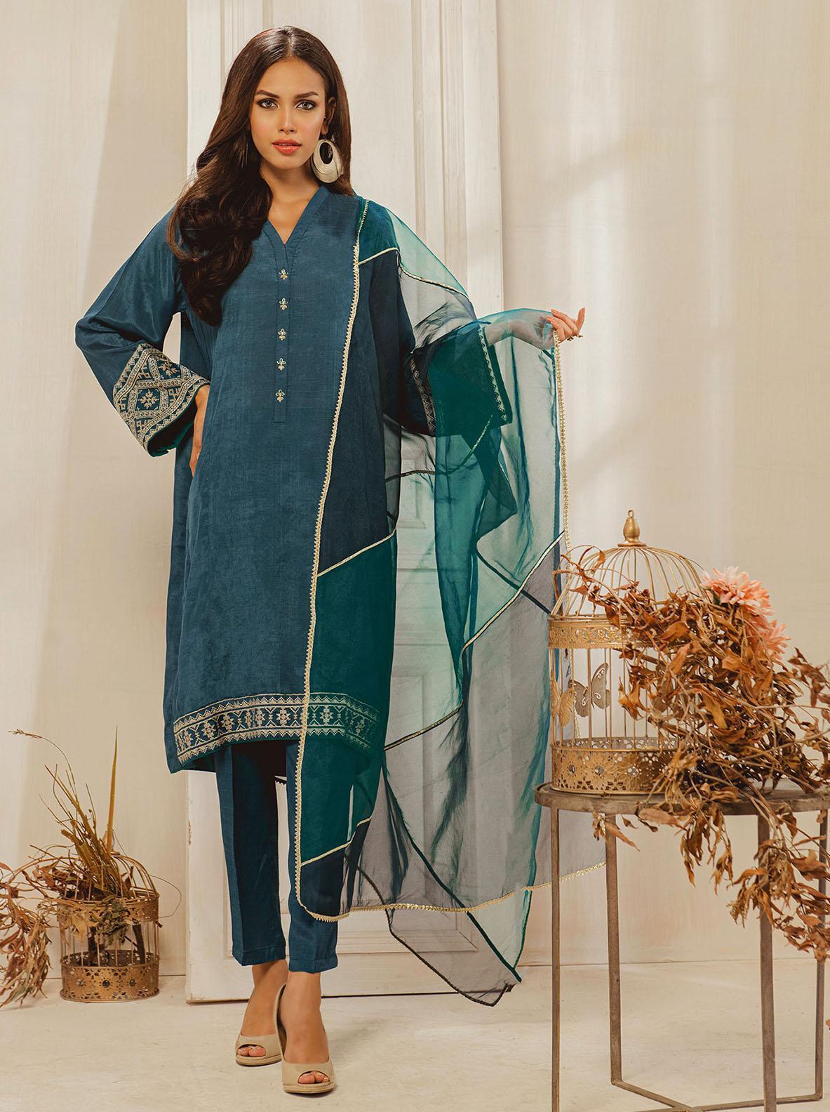 Dhanak Embroidered Raw Silk Stitched 2 Piece DA-1248 Blue