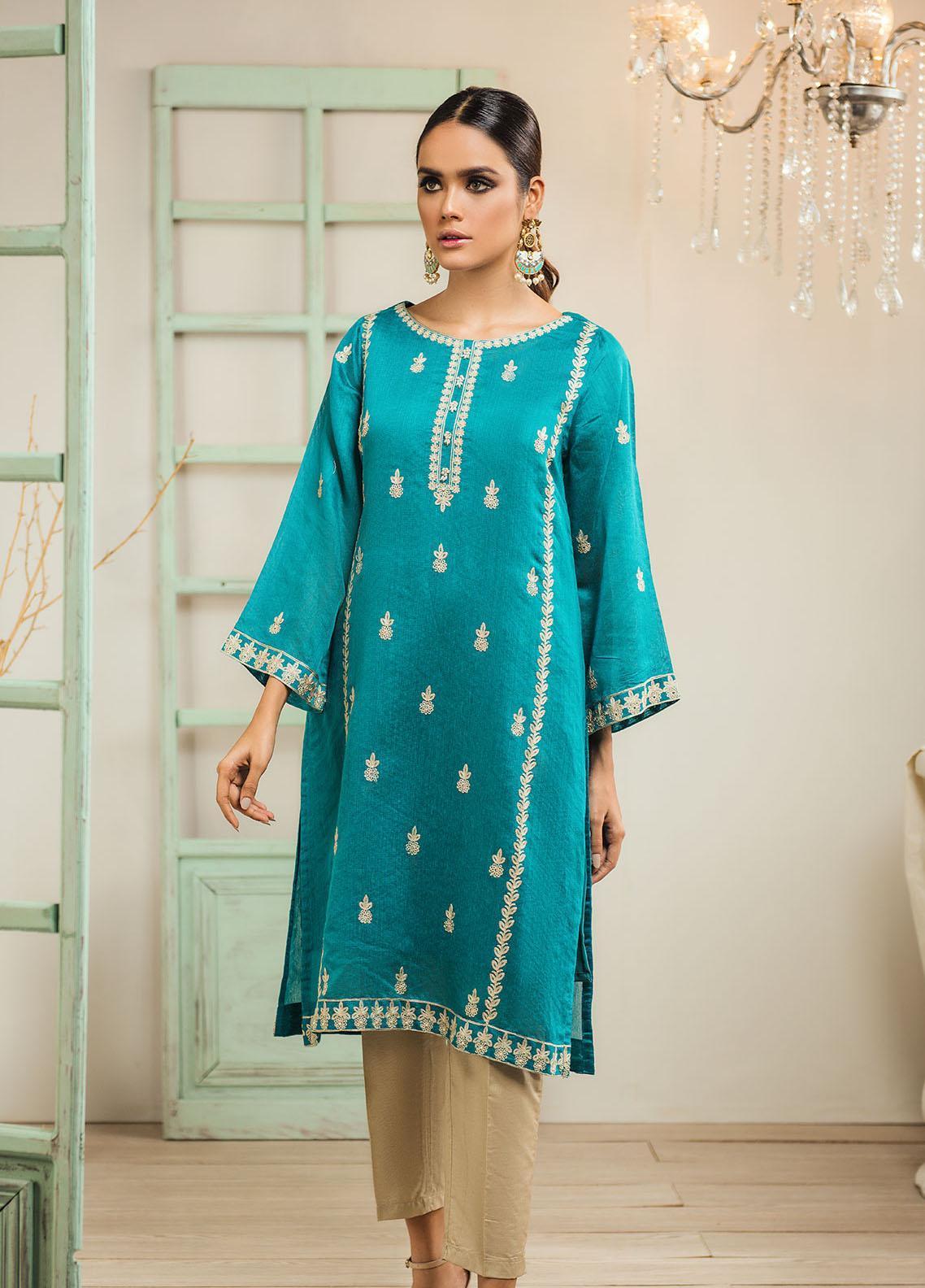 Dhanak Embroidered Cotton Net Stitched Kurti DA-1257 Sea Green