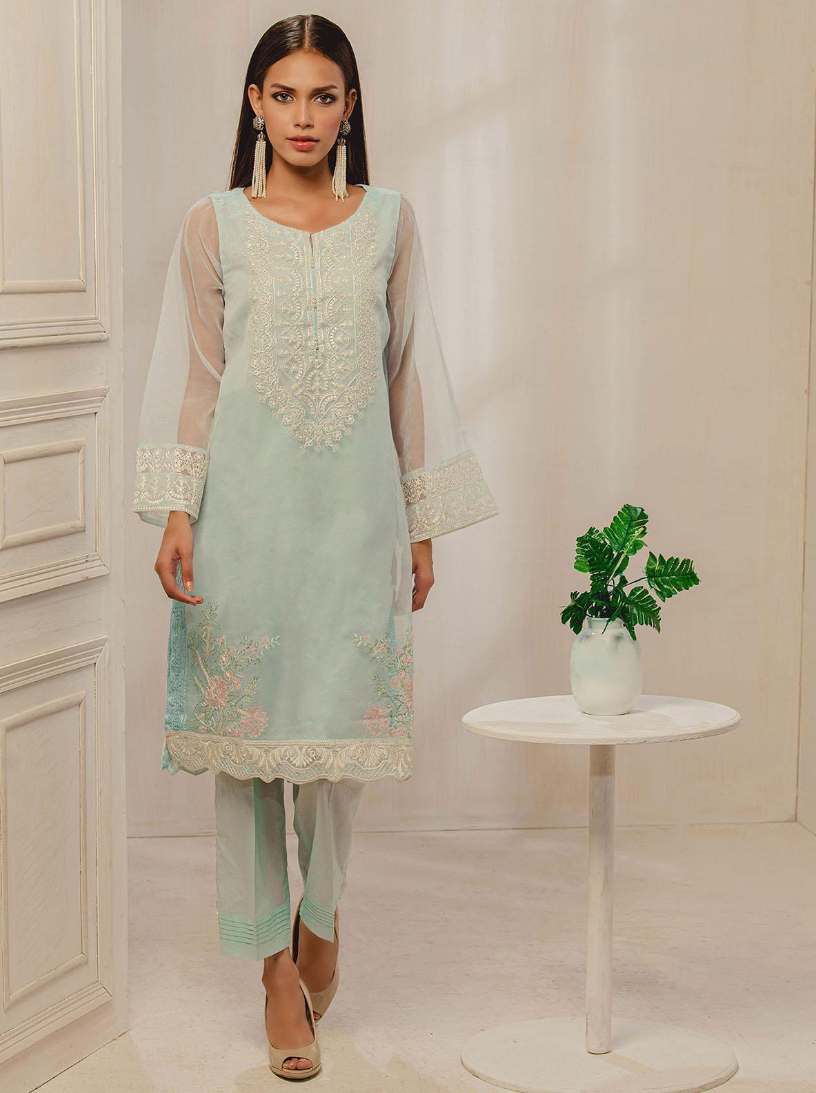 Dhanak Embroidered Tissue Stitched Kurti DA-1290 Sky-Blue