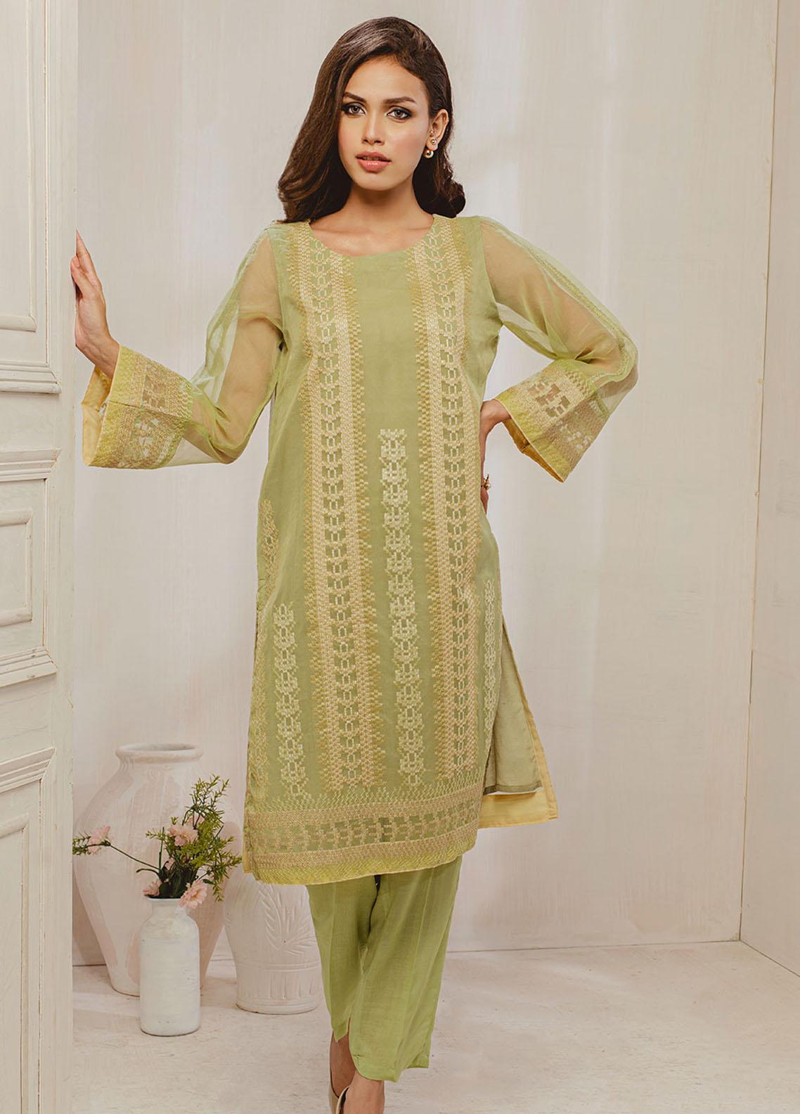 Dhanak Embroidered Organza Stitched Kurti DA-1295 Green