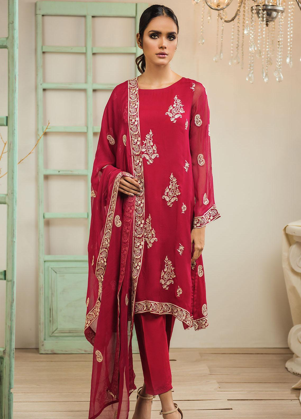 Dhanak Embroidered Chiffon Stitched 2 Piece Suit DA-1317 Red