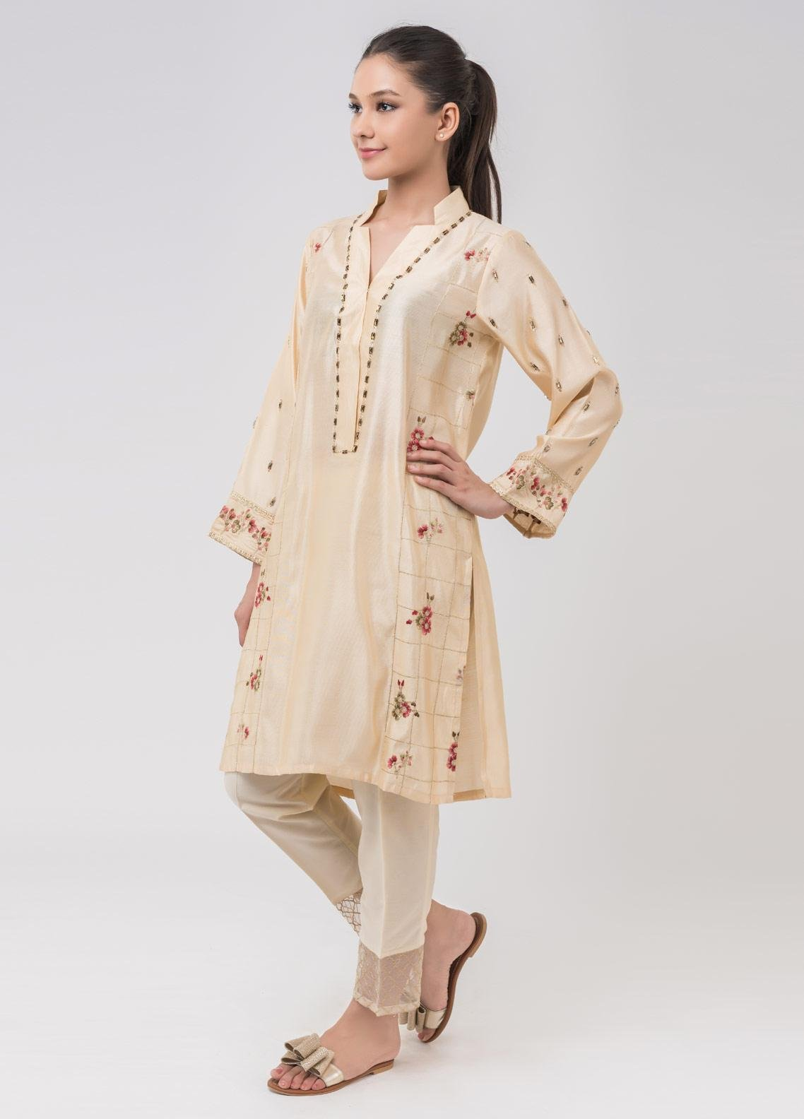 Dhanak Embroidered Cotton Net Stitched Kurtis Beige DA-1042