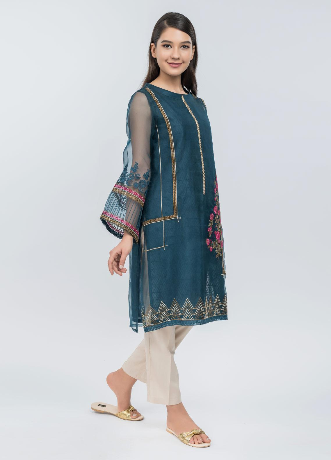 Dhanak Embroidered Cotton Net Stitched Kurtis Blue DA-1076