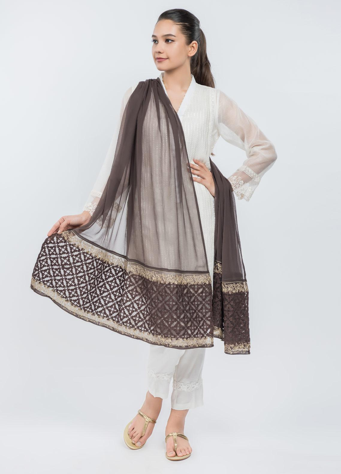 Dhanak Embroidered Chiffon Stitched Dupatta Brown DD-0748