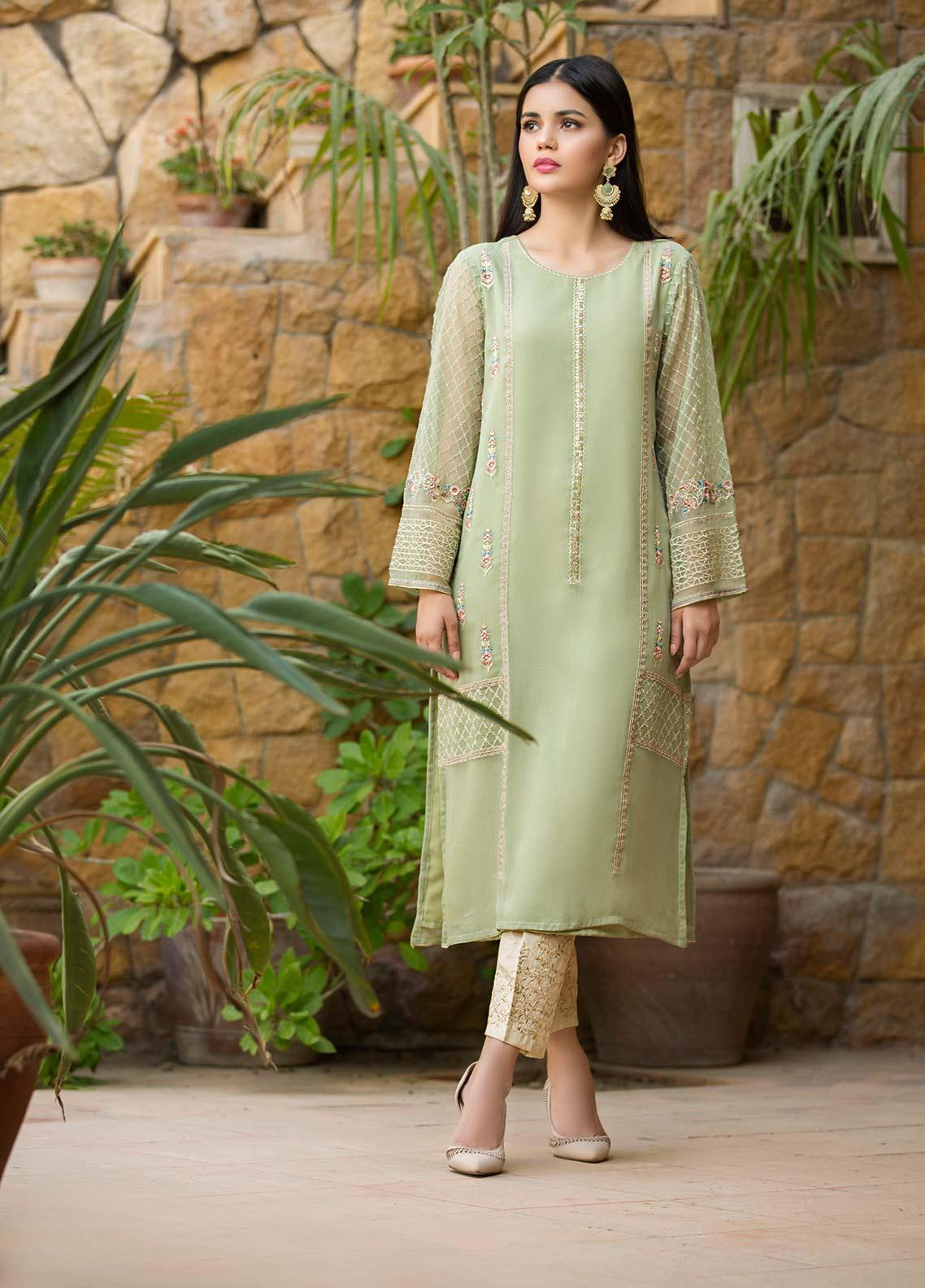 Dhanak Embroidered Chiffon Stitched Kurtis DA-1068 Green