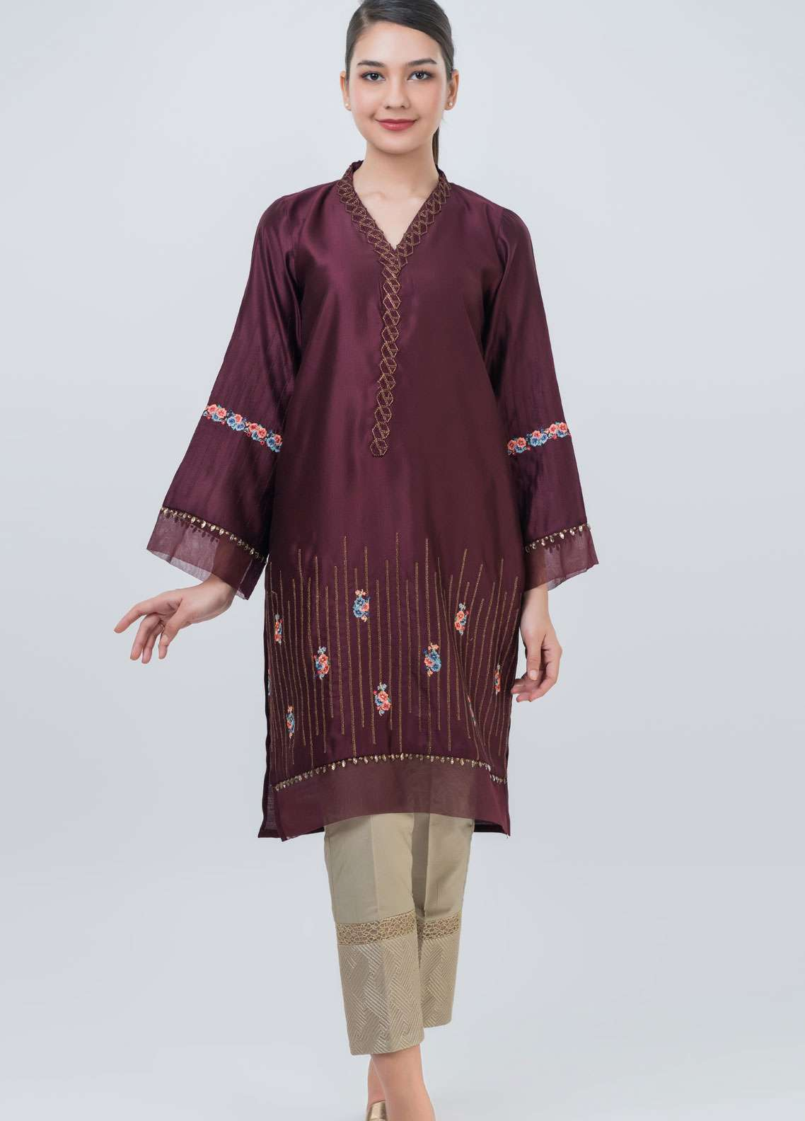 Dhanak Embroidered Cotton Net Stitched Kurtis Dark Maroon DA-1036