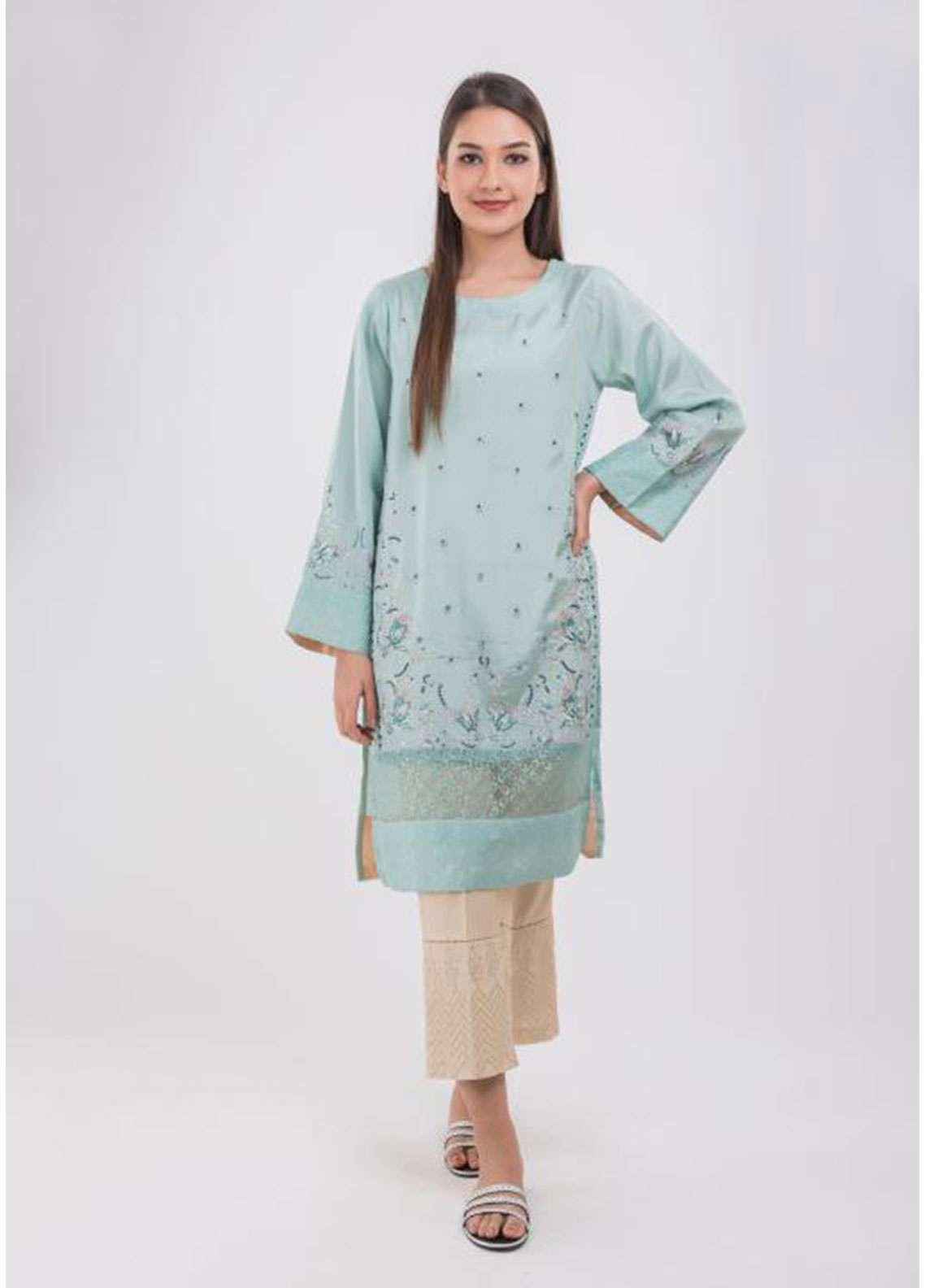 Dhanak Embroidered Raw Silk Stitched Kurtis GREEN DA-1023