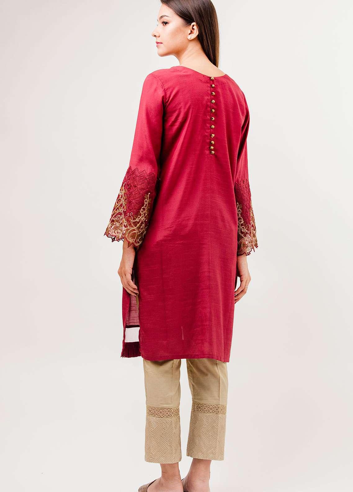 Dhanak Embroidered Raw Silk Stitched Kurtis MAROON DA-0642