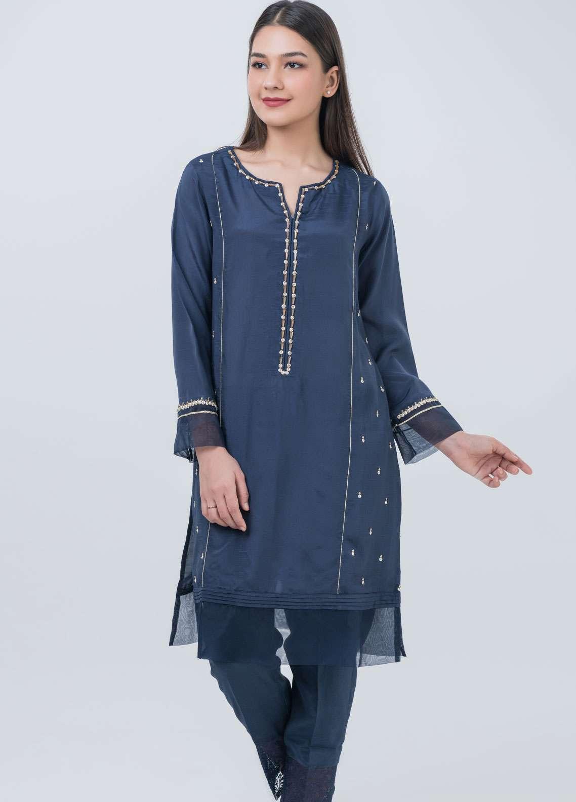 Dhanak Embroidered Raw Silk Stitched Kurtis Navy Blue DA-1039