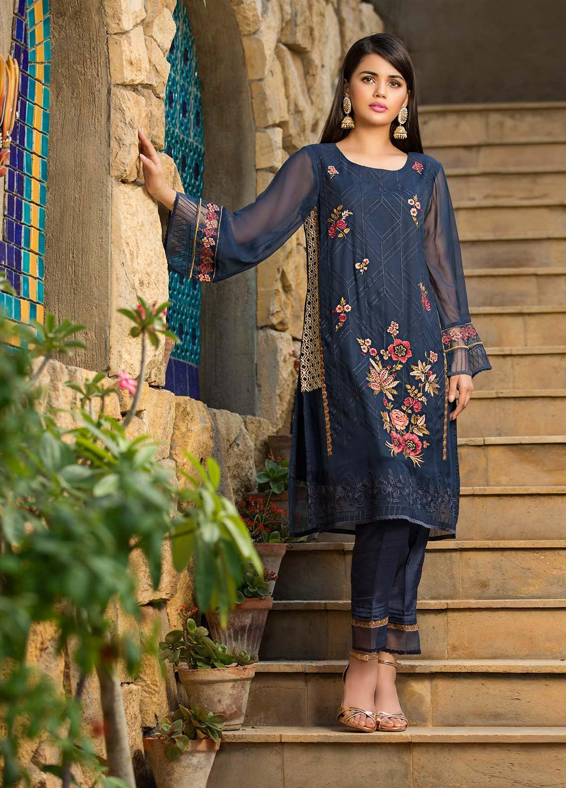 Dhanak Embroidered Chiffon Stitched Kurtis Navy Blue DA-1065