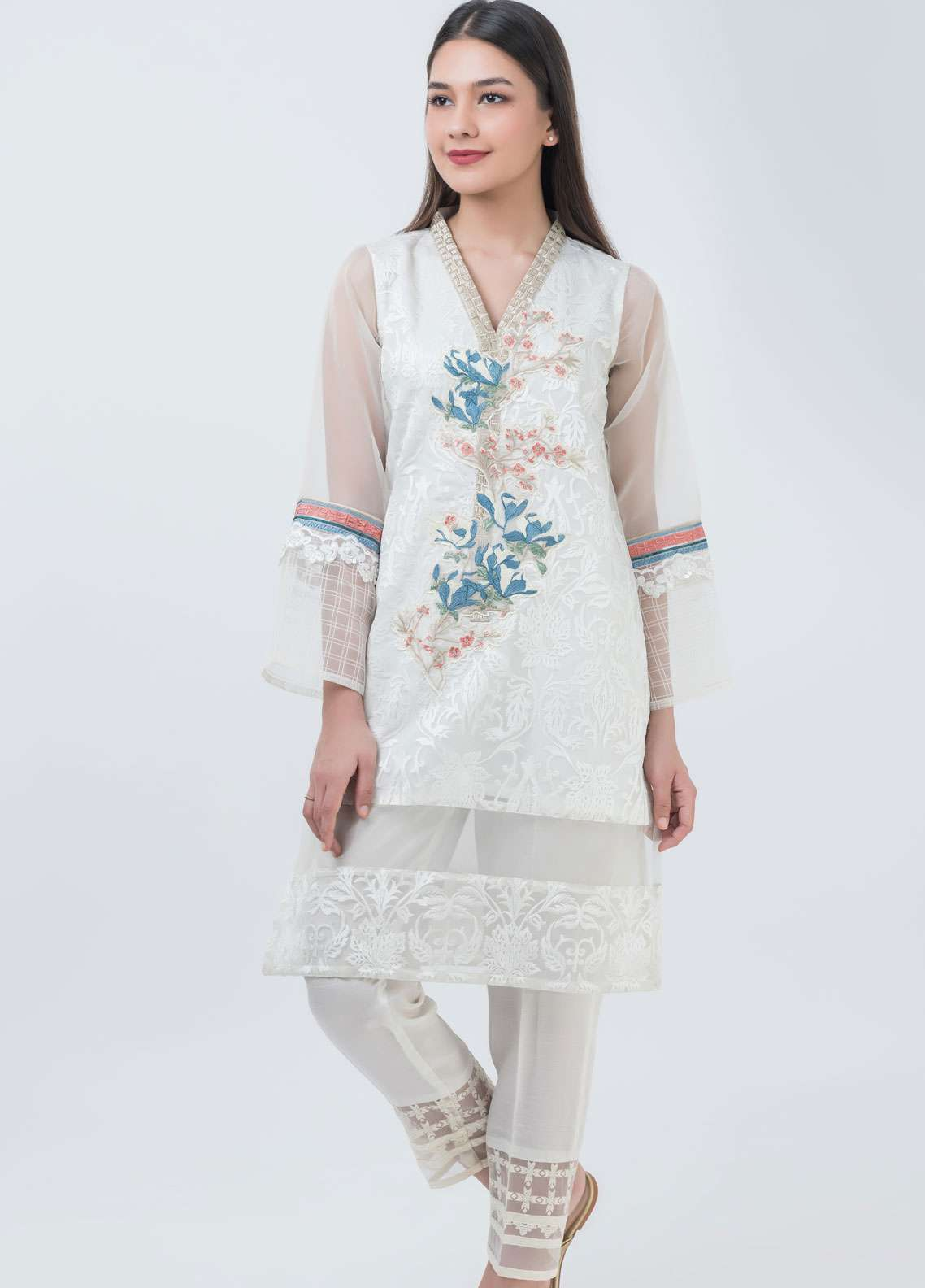 Dhanak Embroidered Cotton Silk Stitched Kurtis Off White DA-1022