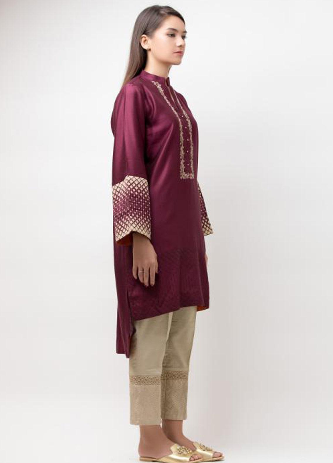 Dhanak Embroidered Cotton Net Stitched Kurtis Purple DA-0578