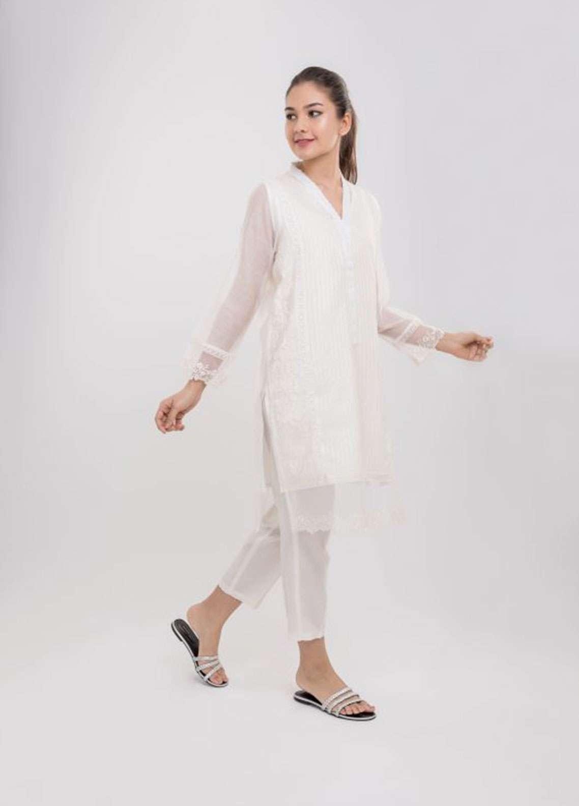 Dhanak Embroidered Khaadi Net Stitched Kurtis WHITE DA-0657