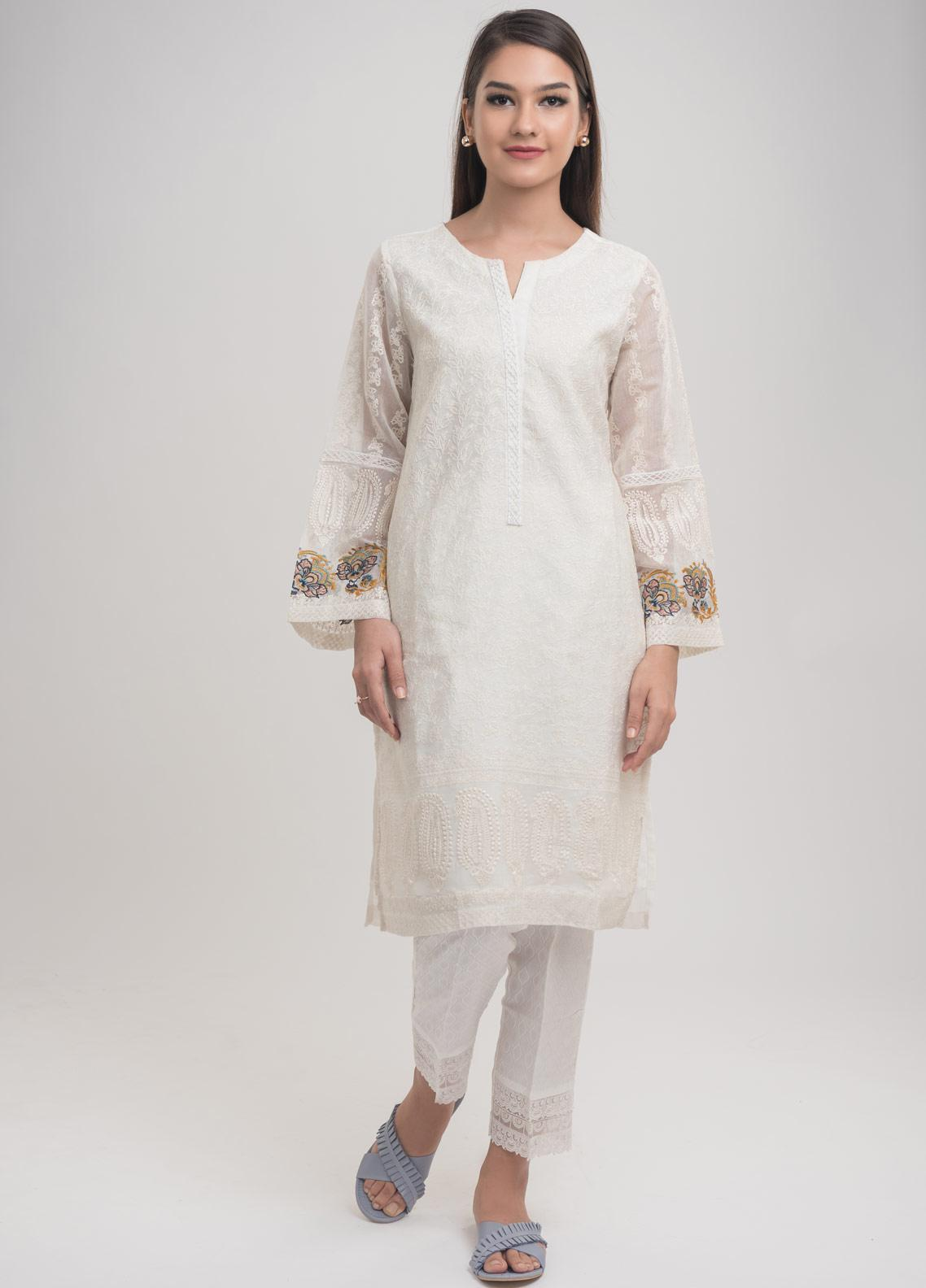 Dhanak Embroidered Cotton Net Stitched Kurtis White DA-1000