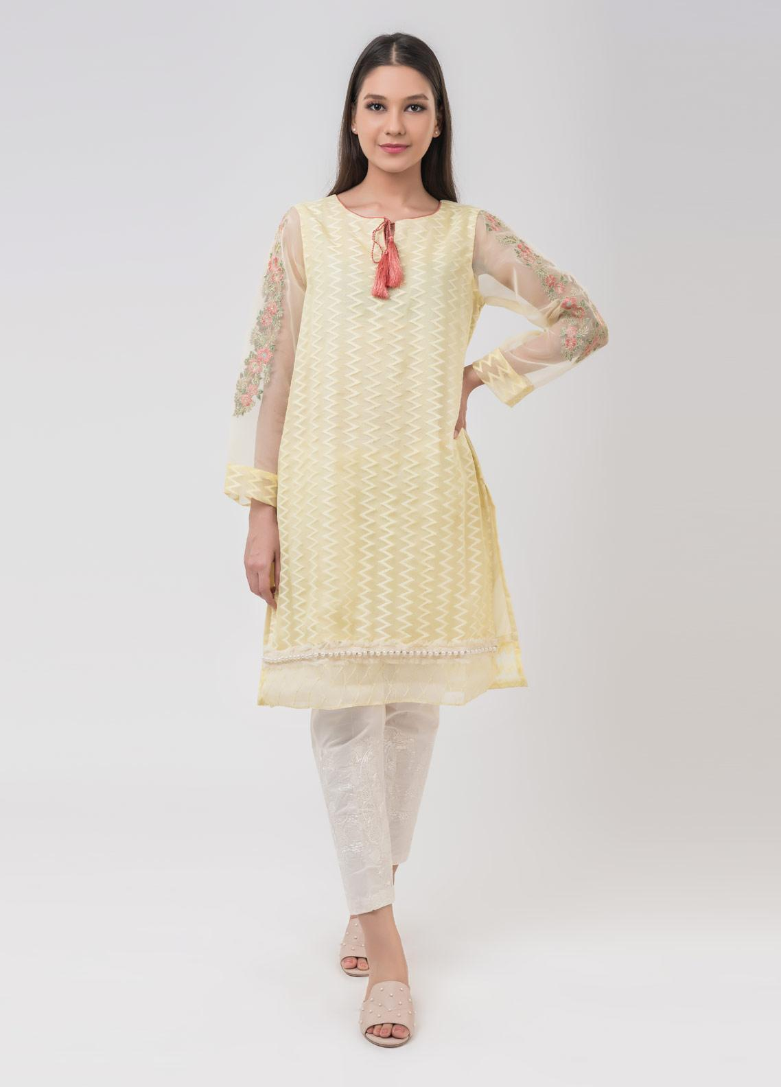 Dhanak Embroidered Cotton Net Stitched Kurtis Yellow DA-1025