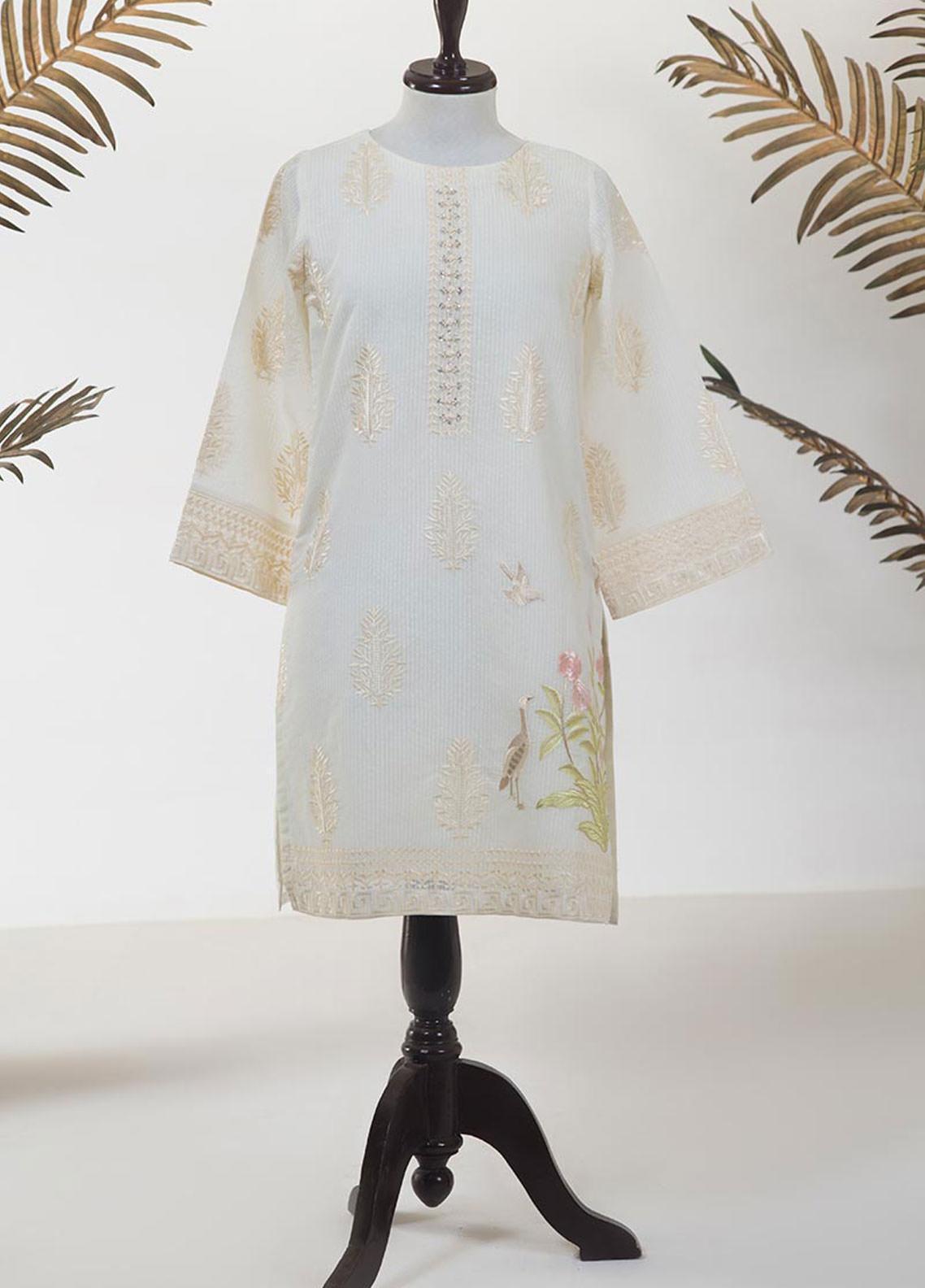 Dhanak Embroidered Jacquard Stitched Kurti DA-1210 OFF WHITE