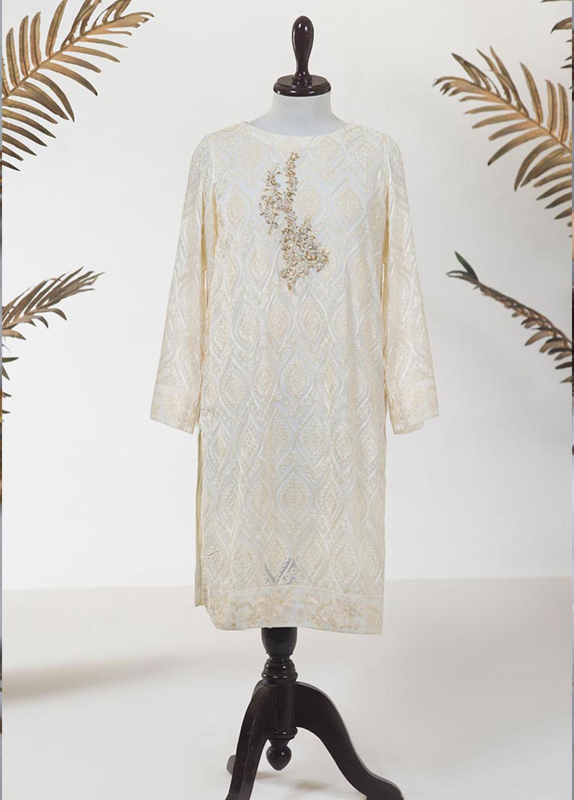 Dhanak Embroidered Chiffon Stitched Kurti DA-1230 OFF WHITE